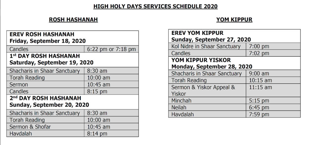Holy Days Schedule